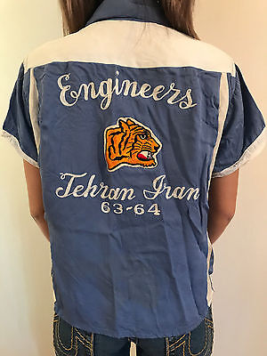 RARE VINTAGE 1960's TWO TONE GABARDINE BOWLING SHIRT WOMEN'S SIZE SMALL TIGER!