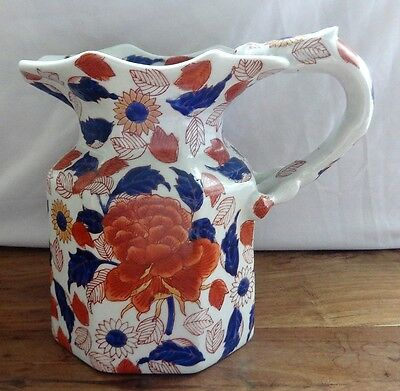Good quality Replica Gaudy Welsh Ironstone Pitcher Jug, red, blue, floral fauna