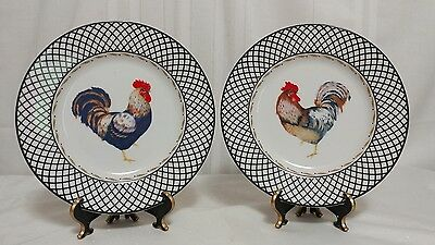 Lot Of Two Vera Bradley Retired Rooster Salad Plates Andrea By Sadek