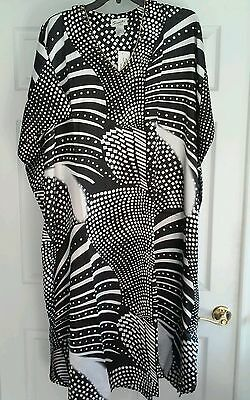 MUMU SANTE CAFTAN KAFTAN  BLACK  WHITE  1X 2X 3X house dress nightgown sleepwear