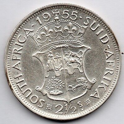 South Africa 2 1/2 Shillings 1955 (50.0% Silver) Coin