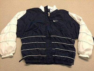 Vtg 90s Hip-hop Style Women's L Nike White Tag Blue Zip Windbreaker Track Jacket