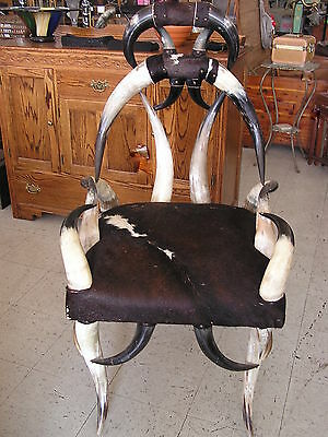Cowhide Western Decor Unique Western Steer Horn Construction Side Arm Chair
