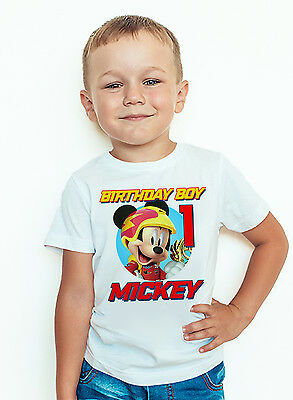 Mickey and the Roadster Racers Birthday Shirt Custom Name and Age Mickey Tee