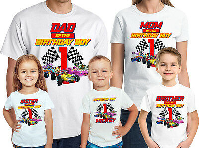 Mickey and the Roadster Racers Birthday Shirt Personalized Name-Age Family Tees