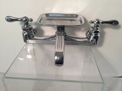 Vintage Art Deco Chrome Wall Mount Kitchen Farm Sink Faucet with Soap Dish