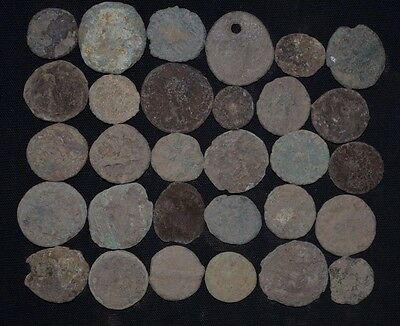Group of 30 Ancient Roman Bronze coins. Roman Imperial, ca 235-476 AD. Detector