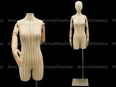 Female Linen cover white color with stripes and Flexible Arms. #JF-F2SLarm+BS-05