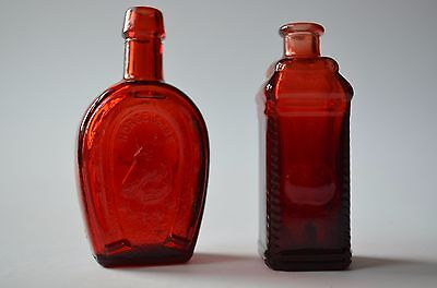 Vintage Wheaton Horsehoes and Apple Bitters Red Miniature Small Bottle -Set of 2