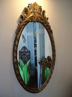 ANTIQUE VINTAGE MIRROR WOOD CARVED GILDED MIRROR LARGE 36 X 20 inches!
