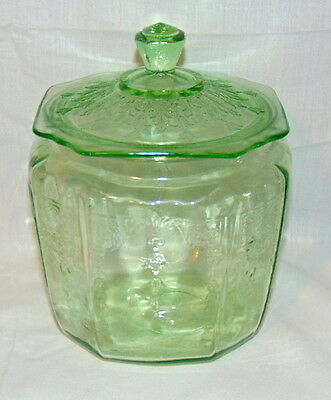 Anchor Hocking PRINCESS GREEN *COOKIE JAR w/COVER*