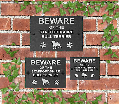 Beware of the Dog Slate Door Gate House Sign 3 Sizes All Breeds available M - Y