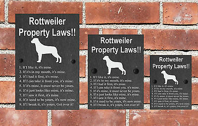 Property Laws Funny Dog Slate Gate House Sign  3 Sizes ALL BREEDS AVAILABLE M-Y