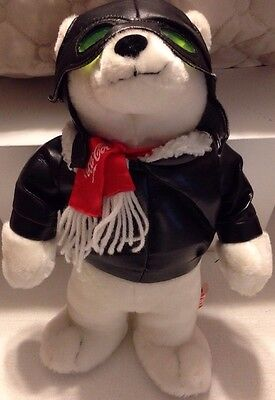 Coca Cola Stuffed Vintage Collectors Polar Bear Aviator
