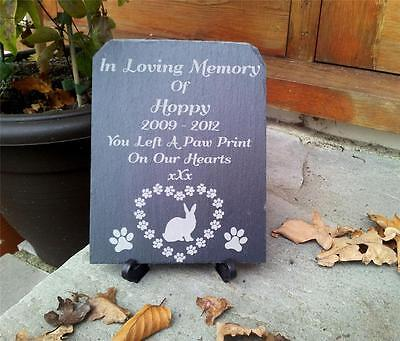 Personalised Rustic Slate Pet Rabbit Memorial Plaque With Stand. Hearts Paws