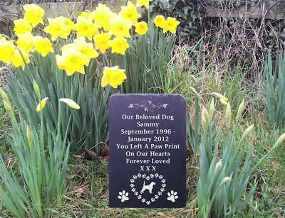 Slate Pet Dog Memorial Grave Stone Headstone Various Breeds Hearts & Paws FS1