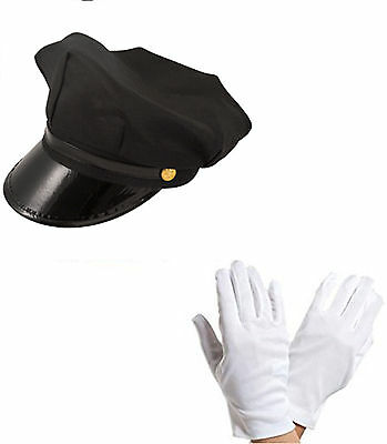 Adult Chauffeur Cap Limo Taxi Driver Hat and White Gloves Fancy Dress Kit Deluxe