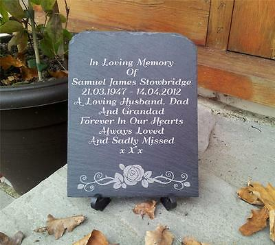 Personalised Natural Slate Memorial Plaque With Stand Interior  Exterior Rustic