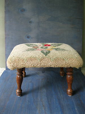 "Antique Foot Stool Hooked Floral Rug Seat Footstool Bench 15"" x 12"" Four Legs"