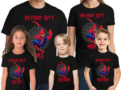 Spider-Man Birthday Shirt  Name and Age Personalized Family Spider-Man Tees