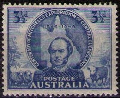 AUSTRALIA ~ 1946 • KGVI Centenary of Mitchell 3½d Blue «Mounted MINT» sg#217