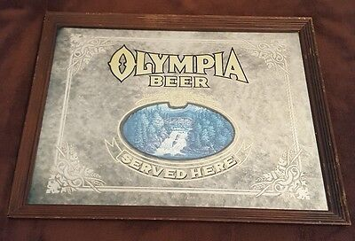 "Vintage Framed Olympia Beer ""Served Here"" Sign Mirror 26x20 Olympia Brewing WA"