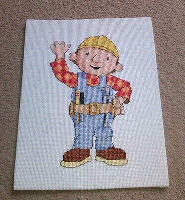 Completed cross stitch of Bob the Builder