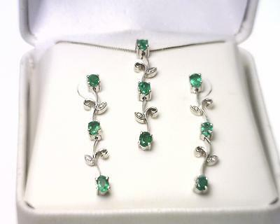 14K White Gold 1.32 Carat Natural Emerald and Natural Diamond Jewelry Set. L8279