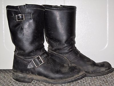 Mens Vtg Georgia Black Leather Engineer Harness Motorcycle Riding Boots Size 8.5