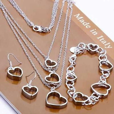 925 Sterling Silver Plated Heart Chain Earring Necklace Jewelry Set DH US