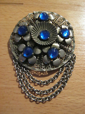 """Vintage large circular silvertone brooch with blue stones, 3.5"""" long"""