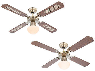 """Globo Ceiling Fan light Champion antique brass 106.6 cm / 42"""" with pull cord"""