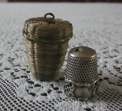 Vintage Antique Sweet Grass Black Ash Holder and Sterling Silver Thimble Sewing
