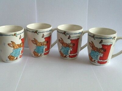 Set Of Four Beautiful Marks And Spencer Peter Rabbit Style Cups