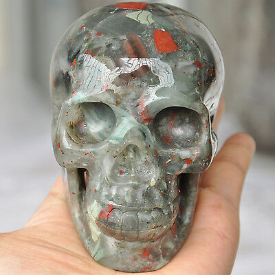 """4"""" Natural African Bloodstone Carved Crystal Skull Human Statue Healing Decor"""