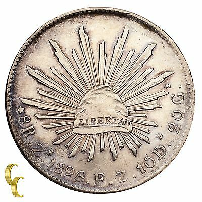 1896Zs FZ Mexico First Republic 8 Reales Silver Coin (Extra Fine, XF Condition)