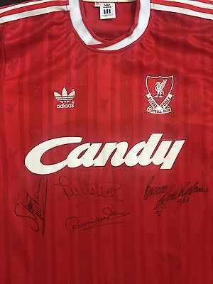 Liverpool 1988/89 Candy Home Shirt signed by McMahon, Molby, Whelan, Grobbelaar