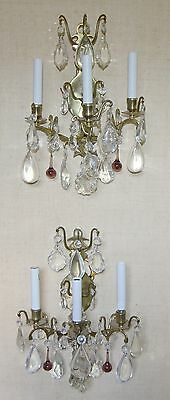 Pair Vintage French Crystal Brass Louis XV Versailles Wall Sconces