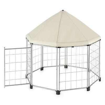 Pet Canopy Tent Outdoor Lawn Excercise Training Dog Cat Small Animal Shade Beige