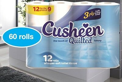 60 CUSHEEN QUILTED LUXURY 3Ply TOILET ROLLS - BEATEN SUPERMARKETS BY 40% SAVING
