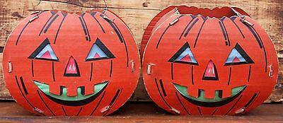 Vintage Jack O Lantern Scary Haunted Halloween Trick Treat Candy Pumpkin Basket