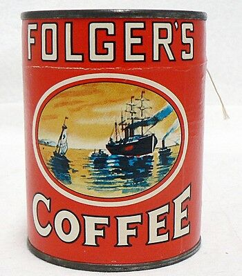 Vintage Small Folgers Coffee Unopened Puzzle In A Can With Lid Sticker