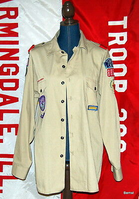 Boy Scout Uniform Shirt With Patches - Large