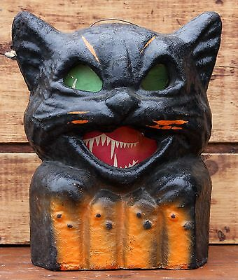 Vintage Paper Mache Jack O Lantern Scary Black Cat Crazy Eye Halloween Decor