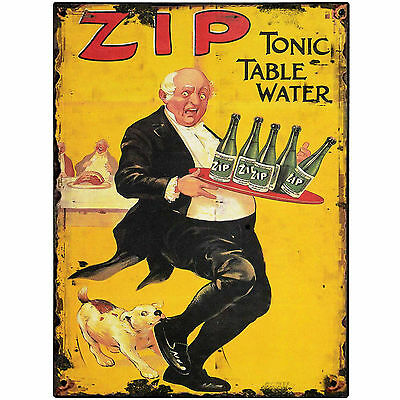 ZIP TONIC TABLE WATER    metal Retro Aluminium tin Sign  SHABBY CHIC VINTAGE