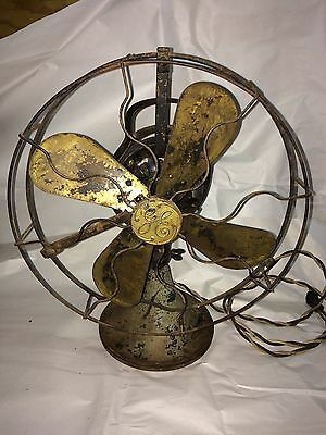 WORKING ANTIQUE GE BRASS BLADE 3 Speed Oscillating Fan, 12""