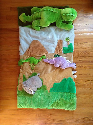 Carstens Toddler/Preschool Sleeping Bag Dinosaurs W/ 3 Plush Dino's To Attach