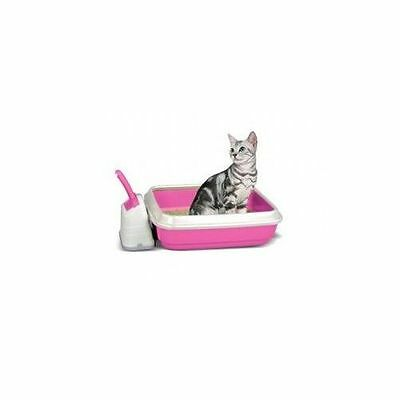 Duo Cat Litter Tray With Scoop & Holder Pink 50x40x14.5cm Accessories - Cat - Li