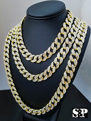 """Hip Hop Quavo Full Iced 16"""",18"""", 24"""", 30"""" Miami Cuban Link Choker Bling Necklace"""