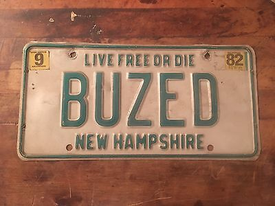 NEW HAMPSHIRE Vanity License Plate.                   ---BUZED----